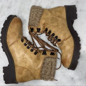 MIA LACE UP TAN BOOTS WITH FUZZY INTERIOR